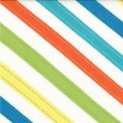 Moda - ABC Menagerie - 3093 - Multi-Coloured Diagonal Stripes on White - 39524-11 - Cotton Fabric